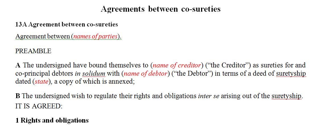 Agreements between co-sureties