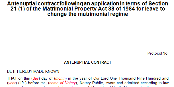Antenuptial contract pursuant to a s21 application for change of marital regime.  (Marriage)