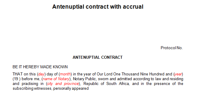 Antenuptial contract with the accrual (Marriage)
