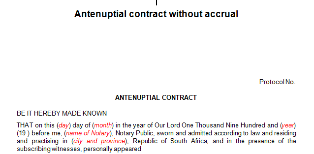 Antenuptial contract without the accrual (Marriage)