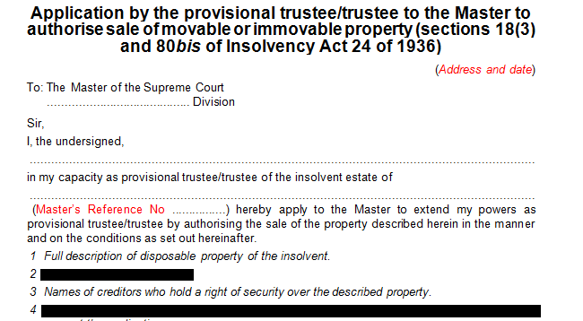 Application by the provisional trustee to authorise the sale of movable or immovable property