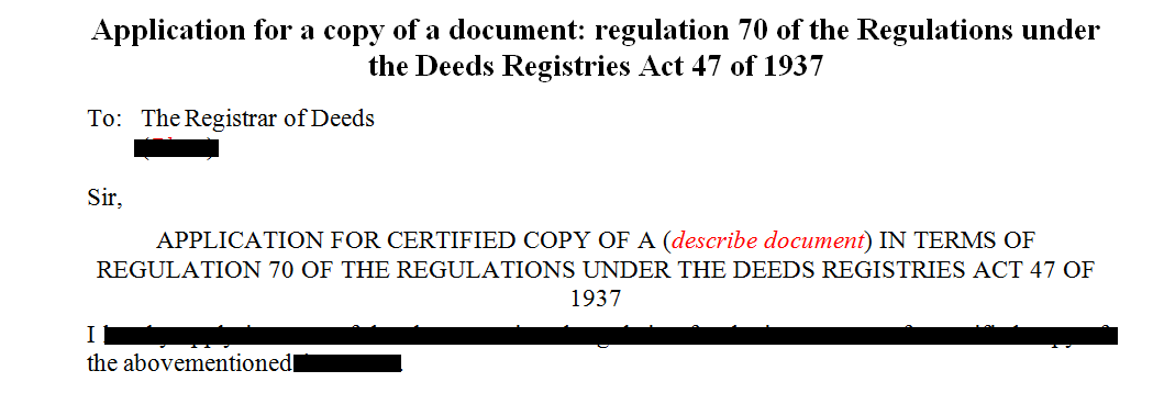 Application for a certified copy of a document under regulation 70 of the Deeds Registries Act