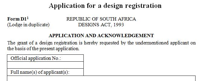 Application for a design registration