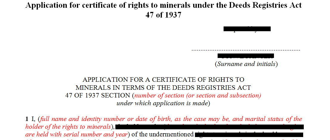Application for certificate of rights to minerals under the Deeds Registries Act