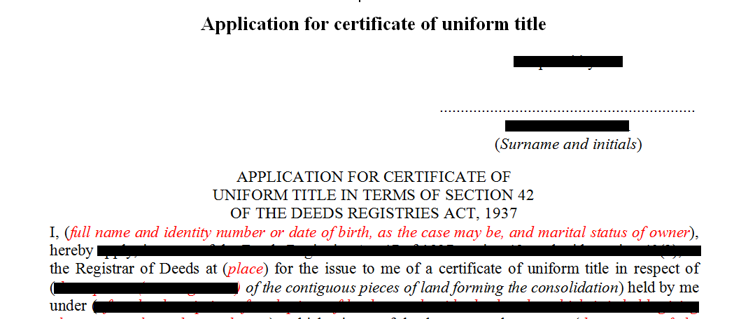 Application for certificate of uniform title in terms of s42 of the Deeds Registries Act