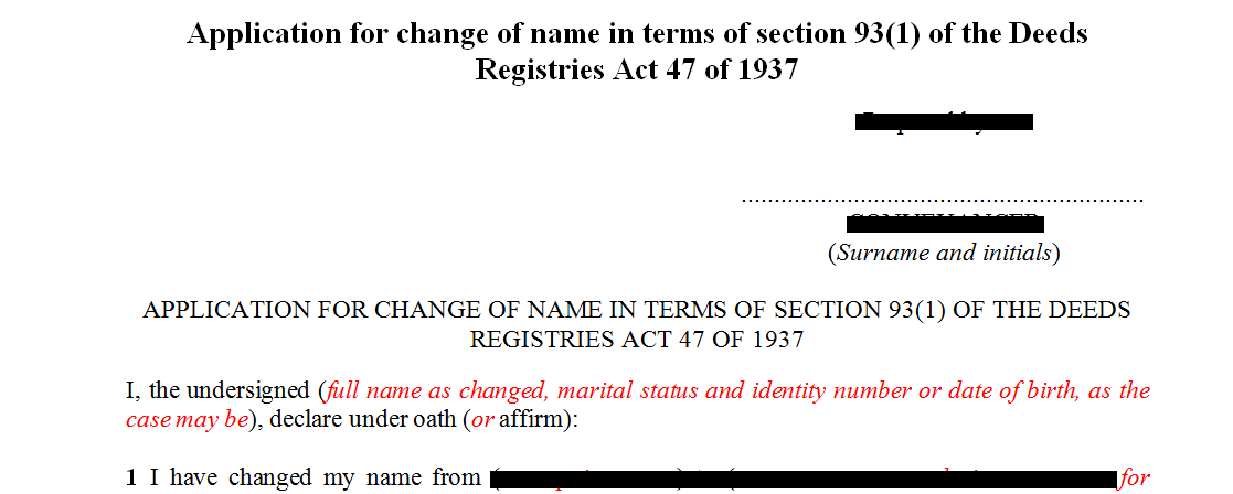 Application for change of name in terms2 of s931 of the Deeds Registries Act