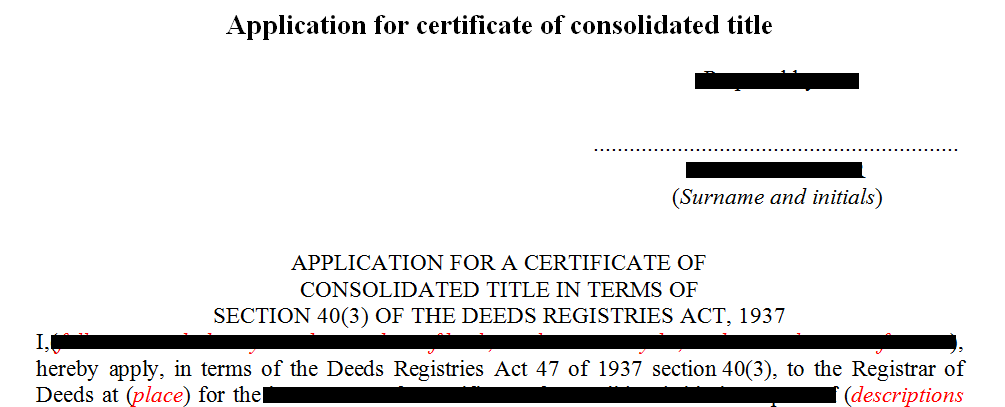 Application for consolidated title  in terms of s40(3)