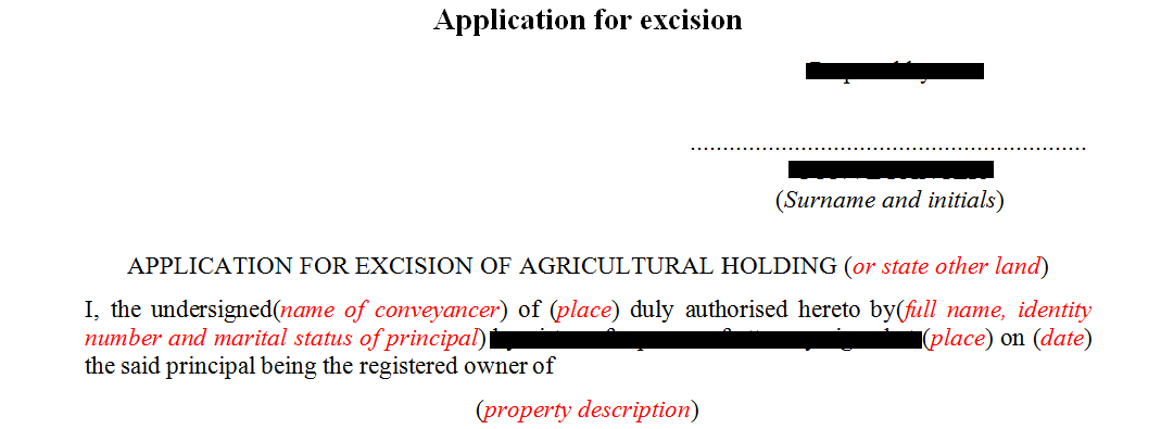 Application for excision of agricultural holding