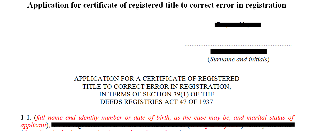 Application for registered title for correction of error registration