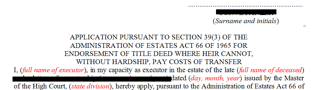 Application for the endorsement of title deed in terms of s39(3) of the Administration of Estates Act