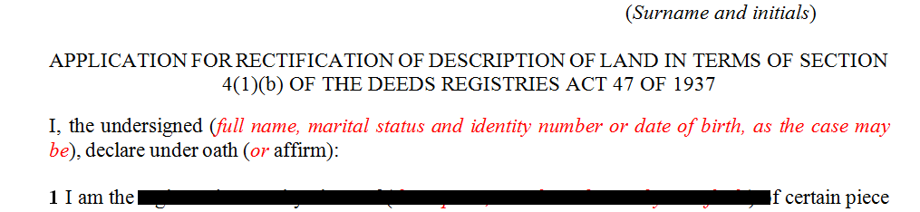 Application for the rectification of description of land in terms of s41b of the Deeds Registires Act
