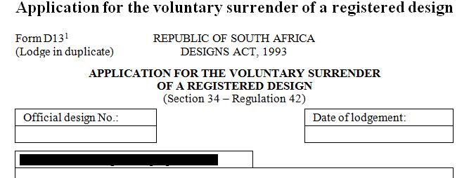 Application for the voluntary surrender of a registered design
