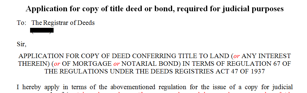 Application for title deed or bond required for judicial purposes