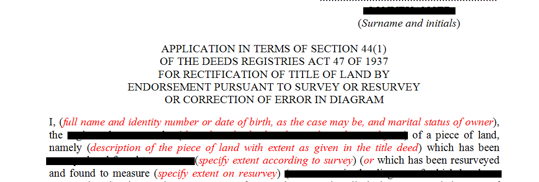 Application in terms of s44(1) of the Deeds Registries Act
