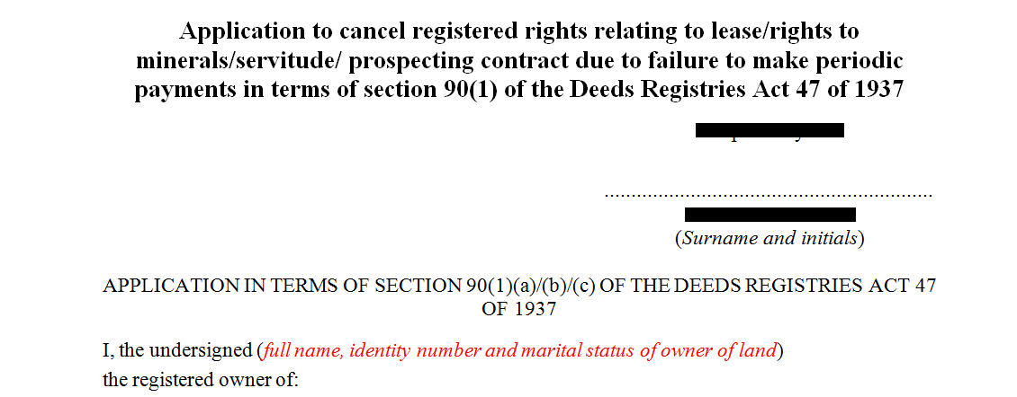Application to cancel registered rights relating to lease or rights to minerals or servitude prospecting contract due to failure to make periodic payment in terms of s90(1)