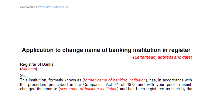 Application to change name of banking institution  in register
