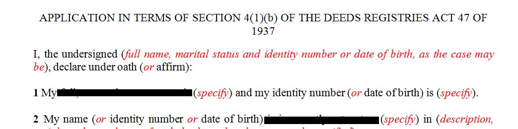 Application to correct an error in a name in a registered title deed