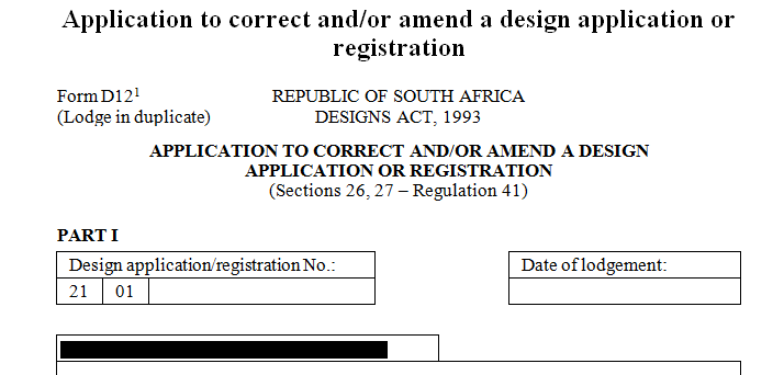 Application to correct and / or amend design application for registration
