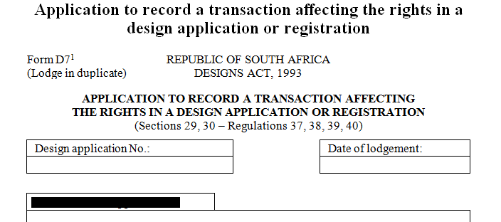 Application to record a transaction affecting the rights in a design application or registration