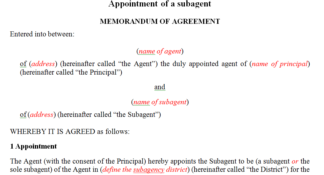 Appointment of a subagent