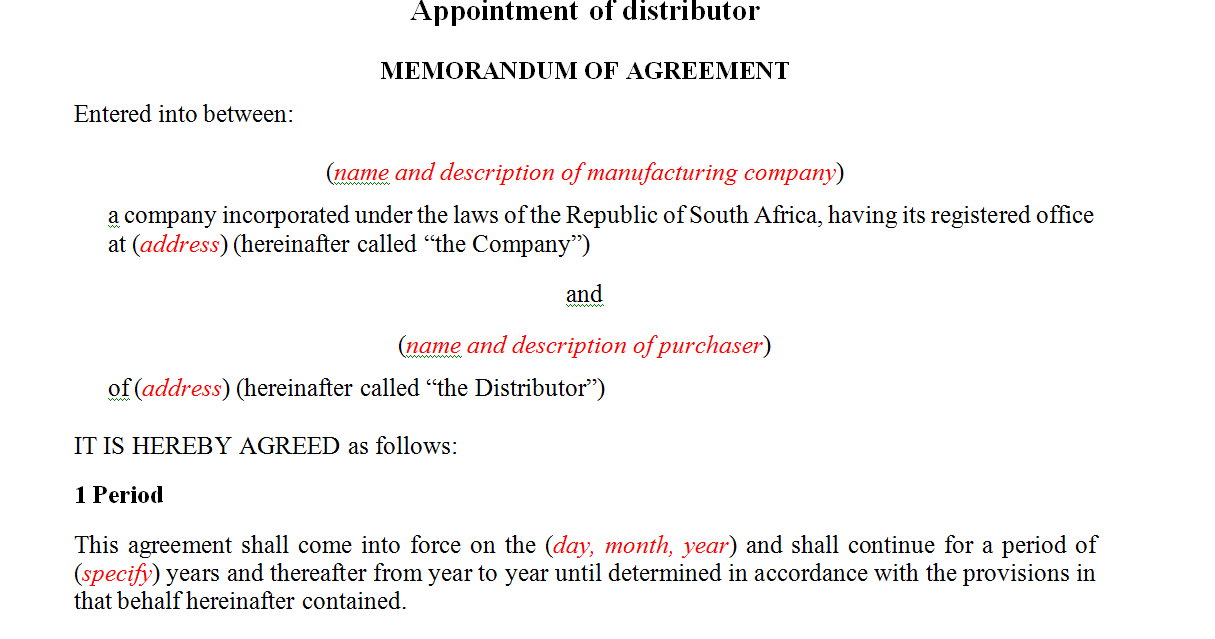 Appointment of distributor