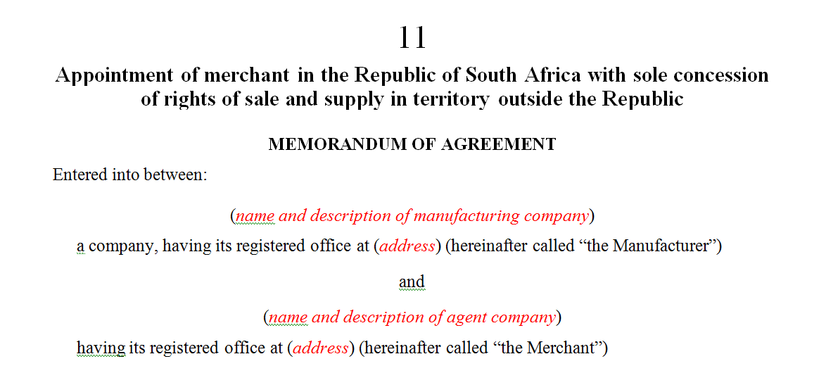 Appointment of merchant in the Republic of South Africa with sole concession of rights of sale and supply in territory outside the Republic