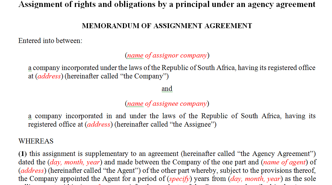 Assignment of rights and obligations by a principal under an agency agreement