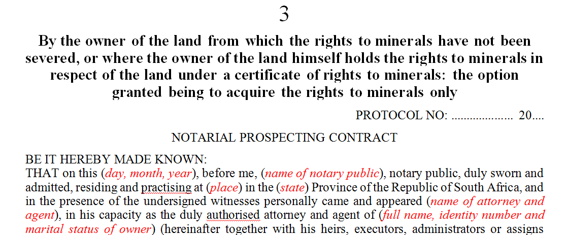 By the owner of the land from which the rights to minerals have not been severed of the land