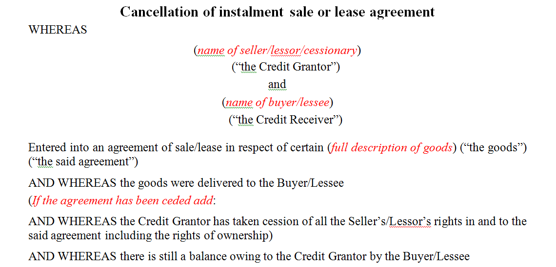 Cancellation of instalment sale or lease agreement