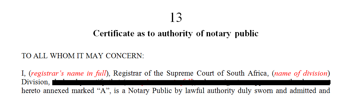 Certificate as to authority of notary public