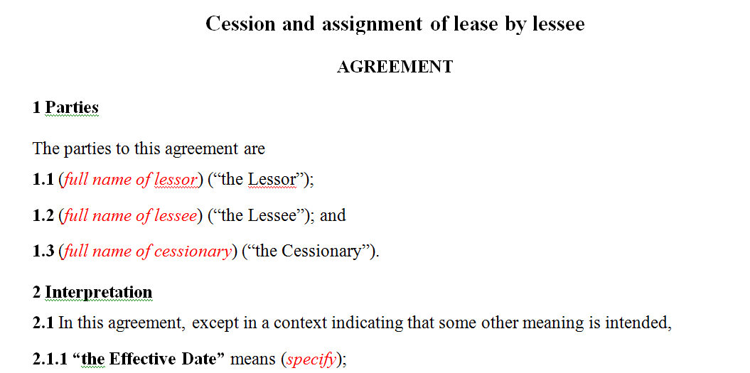 Cession and assignment lease agreement by lessee