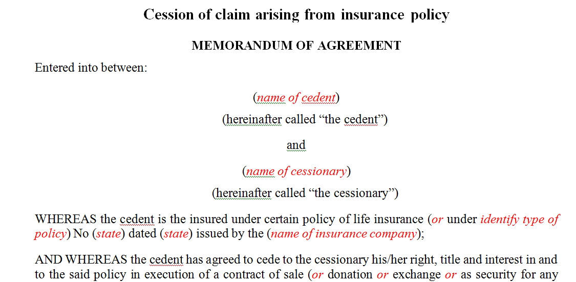Cession of claim arising from insurance policy