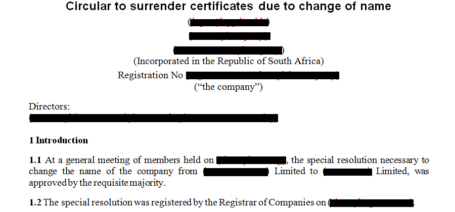 Circular to surrender certificates due to change of name