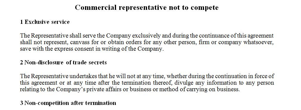 Commercial representative not to compete