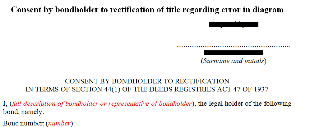 Consent by bondholder for the rectification of title in diagram
