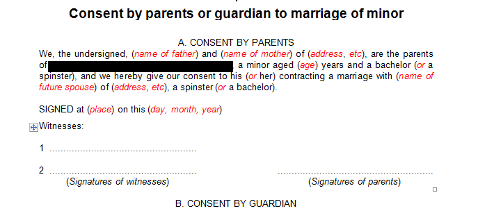 Consent by parents or guardian for the marriage of a minor
