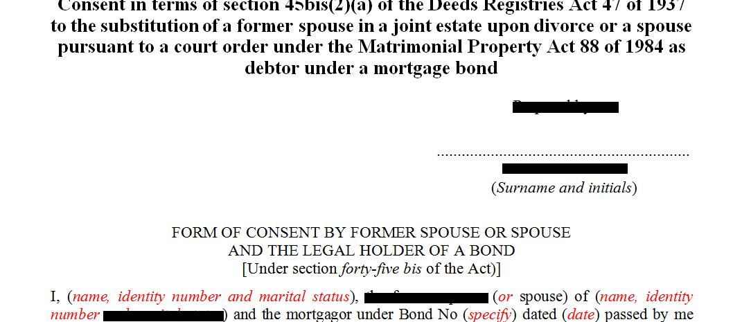 Consent in terms of s45(2)(a) of the Deeds Registries Act