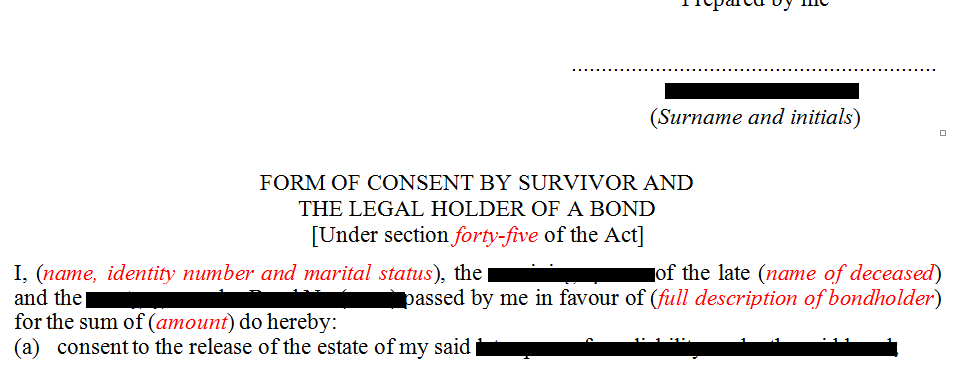 Consent in terms of s45(2)(c) of the Deeds Registries Act