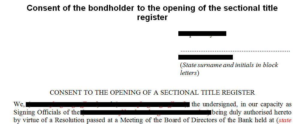 Consent of the bondholder to the opening of a sectional title register