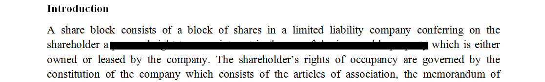 Contract of sale of share block