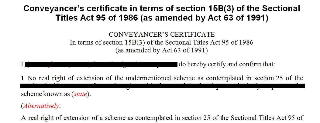 Conveyancers Certificate in terms of s15B of the Sectional Titles Act