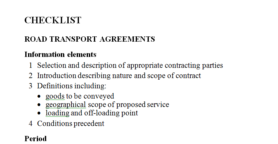 Courier transport of commercial goods legal checklist