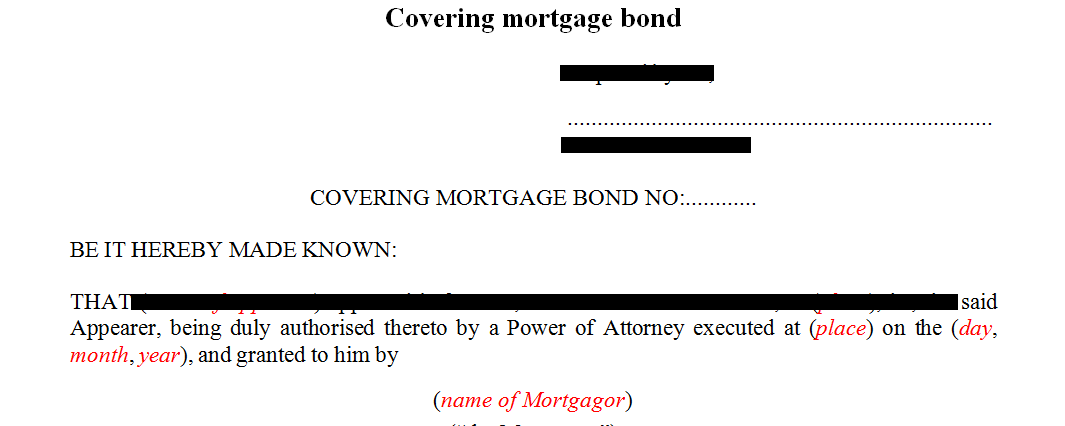 Covering mortgage bond