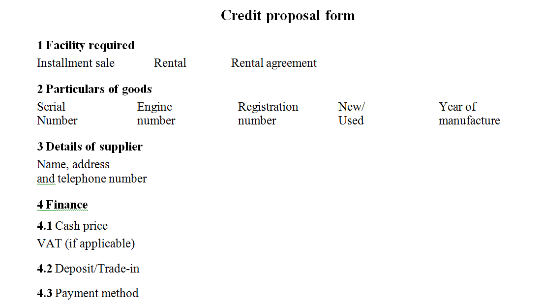 Credit proposal form