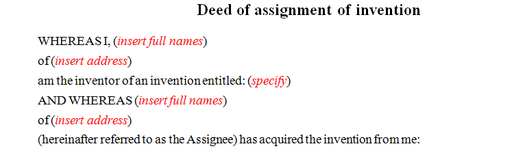 Deed of assignment of invention