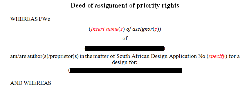 Deed of assignment of priority rights