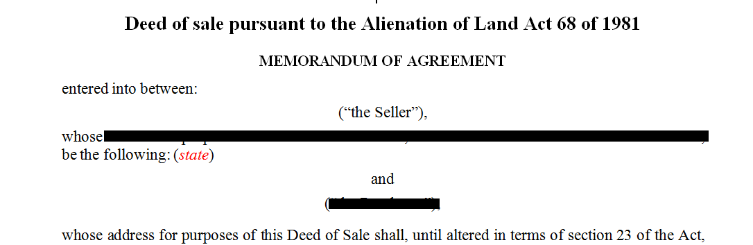 Deed of sale pursuant to the Alienation of Land Act