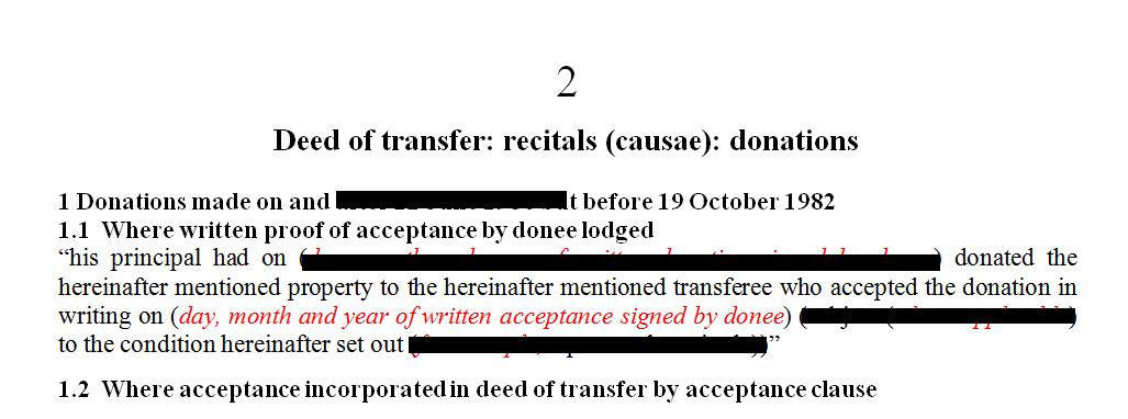 Deed of transfer Recitals (causae): Donations