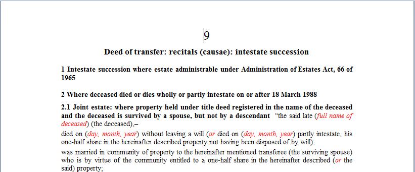 Deed of transfer Recitals (causae): Intestate succession
