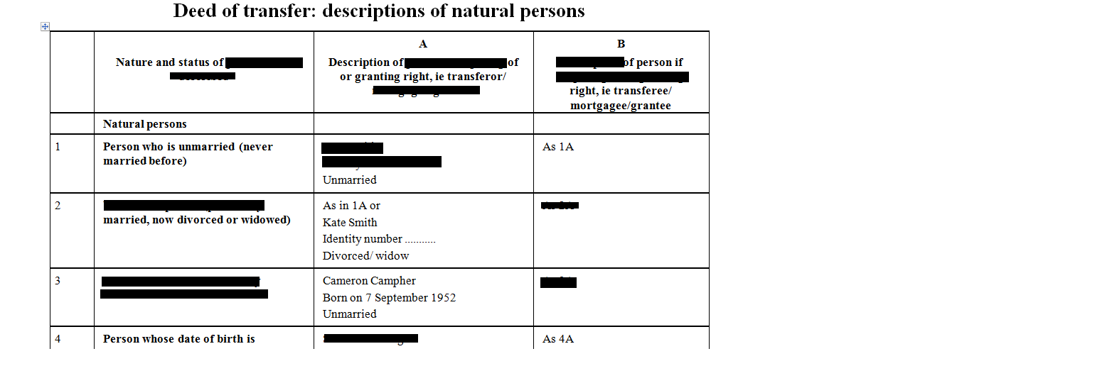 Deed of transfer clauses